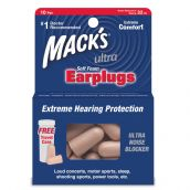 MACK'S ULTRA SOFT FOAM PLUGS 32DB - 10 Pair Pack with Free Travel Case